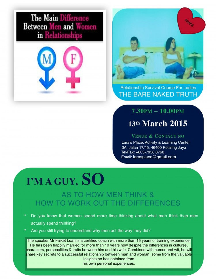 Workshop: Understanding How Men Think and How to Work Out Your Differences @ Lara's Place: Actvitiy & Learning Center | Petaling Jaya | Selangor | Malaysia