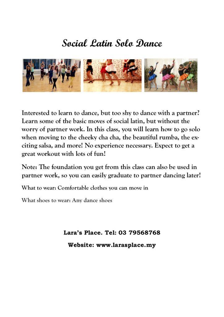 social latin solo dance flyer