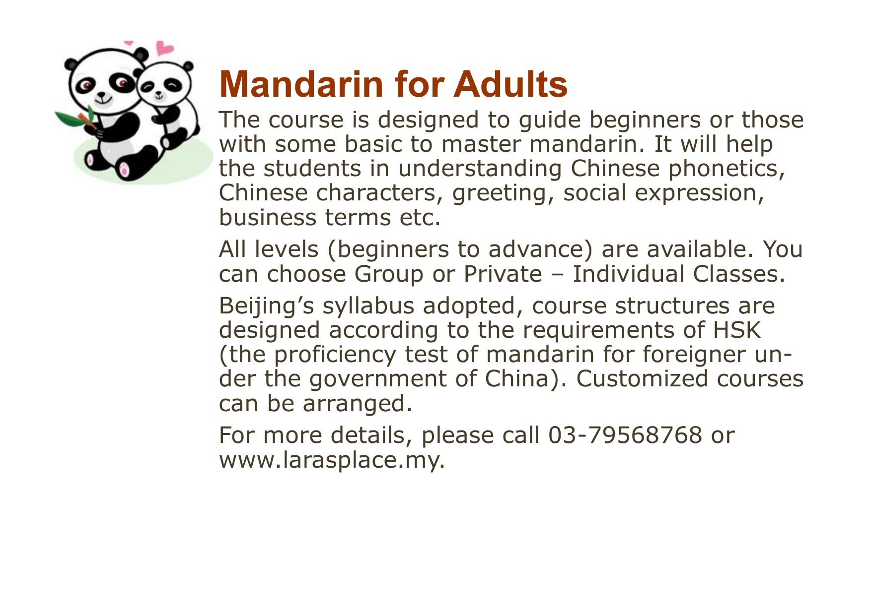 mandarin adults flyers